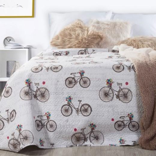Cuvertura pat copii Rower White / Brown, 170 x 210 cm