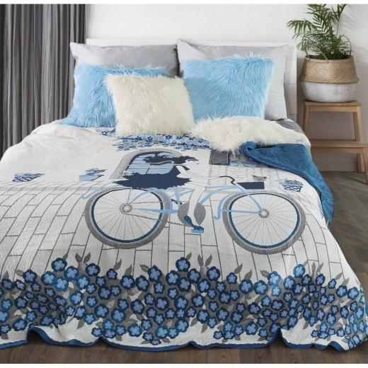Cuvertura reversibila pat copii Girl Cream / Blue, 220 x 240 cm