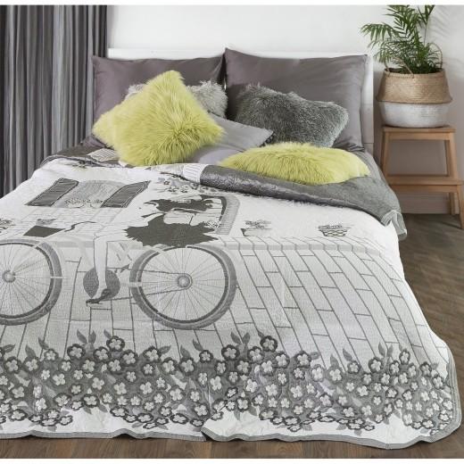 Cuvertura reversibila pat copii Girl White / Grey, 220 x 240 cm