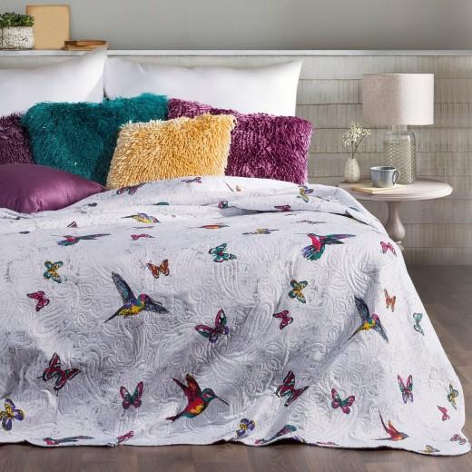 Cuvertura reversibila pat copii Hattie White / Violet, 220 x 240 cm