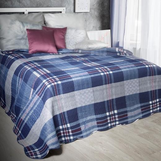 Cuvertura reversibila pat copii Leo Navy Blue, 220 x 240 cm