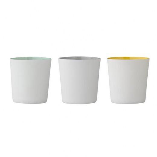 Set 3 Suporturi lumanare Alb/Galben/Gri, Ø6xH6,5 cm