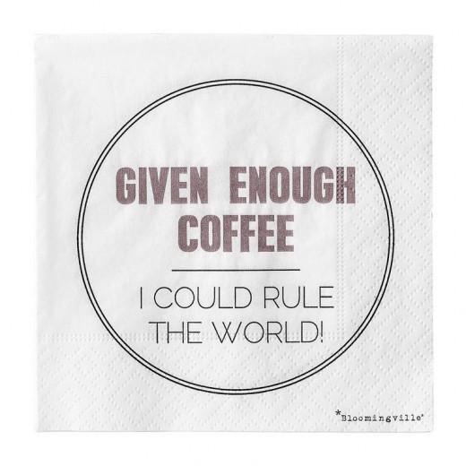 Pachet Servetele Given Enough Coffee... Alb/Mov/Negru, l25xL25 cm, 20 buc/pachet