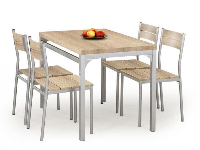 Set masa din MDF si metal + 4 scaune Malcolm Sonoma Oak, L110xl70xH75 cm