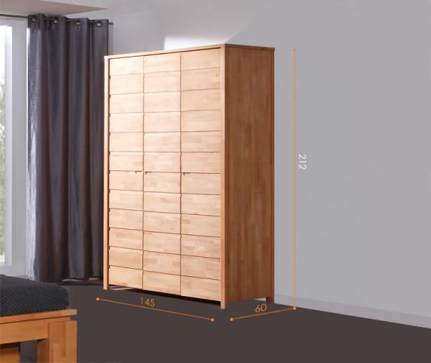 Dulap din lemn masiv de fag Vinci 600 3D natural, l145xA60xH212 cm