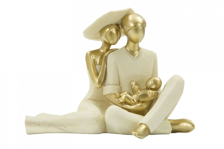 Decoratiune Couple and baby Gold, L23xl14,5xH17 cm
