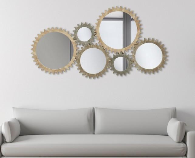 Decoratiune de perete cu oglinda, din MDF Ingranaggio Natural, l137xA3xH73,5 cm