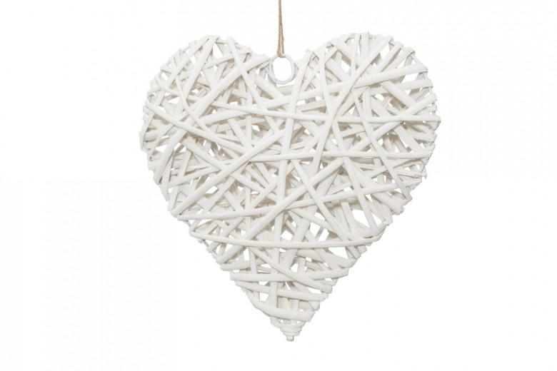 Decoratiune din lemn Heart Media Alb, l20xA5xH20 cm