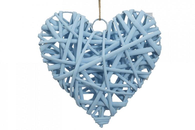 Decoratiune din lemn Heart Media Bleu, l15xA4xH15 cm