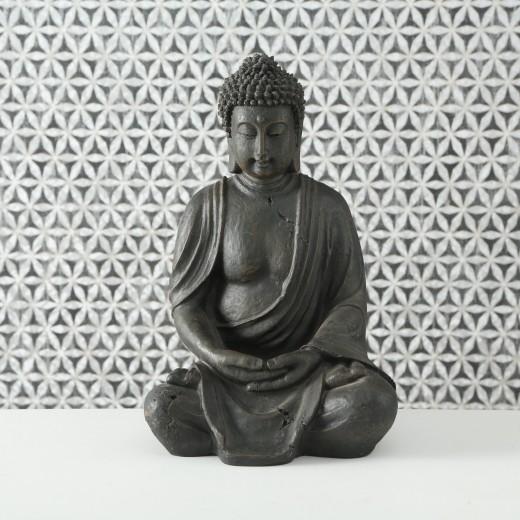 Decoratiune din polirasina Buddha Gri inchis, l17xA26xH40 cm