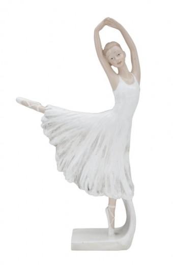 Decoratiune din rasina Ballerina Dancing A Alb / Nude, l14xA4,5xH24 cm