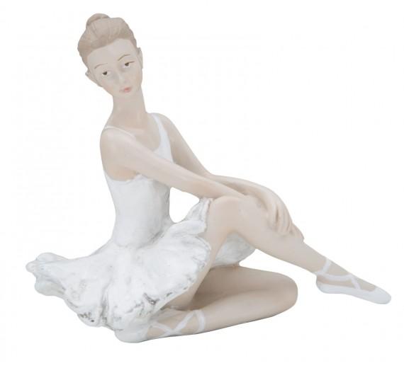 Decoratiune din rasina Ballerina Sitting Alb / Nude, l14xA8xH14 cm