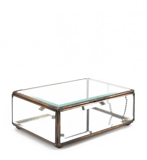 Cutie pentru depozitare din sticla si metal Box Large, L20xl13xH7 cm
