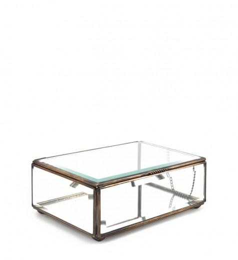 Cutie pentru depozitare din sticla si metal Box Medium, L15xl10xH7 cm