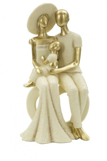 "Decoratiune ""Family and baby"" Gold, L12,5xl10xH24 cm"
