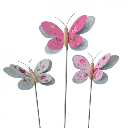 Decoratiune metalica de gradina Rosalie Butterfly Multicolor, Modele Asortate, H107 cm