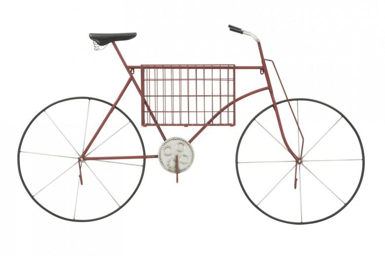 Decoratiune metalica de perete Bicycle Red / Black, L150xl18xH90 cm