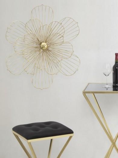 Decoratiune metalica de perete Flowery Stick B Auriu, l60xA8xH54 cm