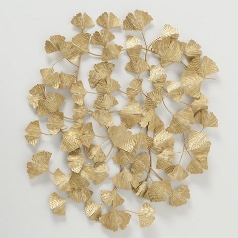 Decoratiune metalica de perete Ginkgo Leaf Auriu, l75xA4xH85 cm