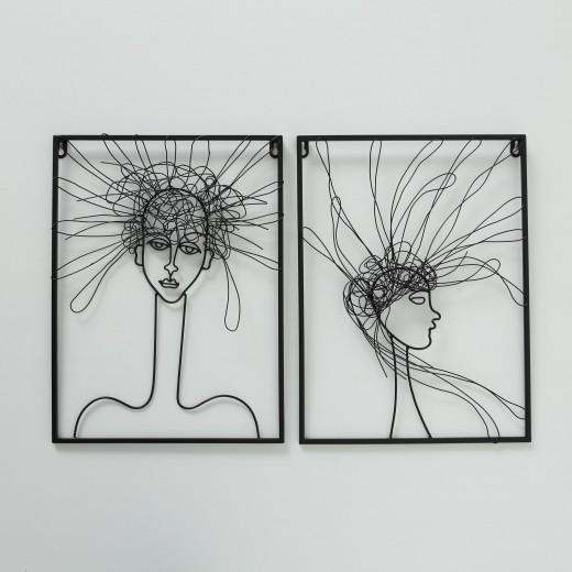 Decoratiune metalica de perete Hairy Negru, Modele Asortate, l30xA1xH40 cm