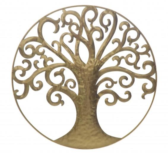Decoratiune metalica de perete Life Tree Glam Auriu, Ø70 cm