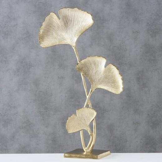 Decoratiune metalica Ginkgo Auriu, l38xA17xH67 cm