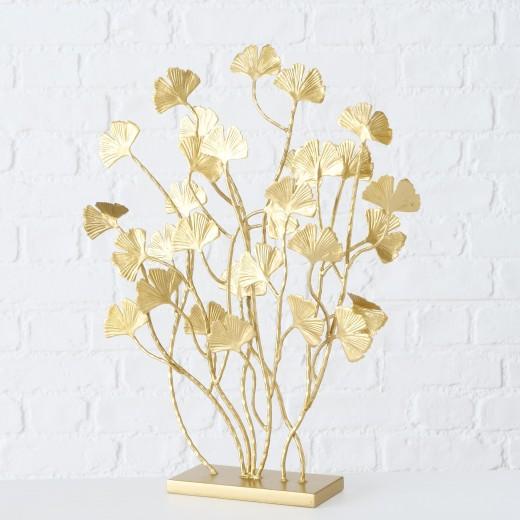Decoratiune metalica Ginkgo Leaf  Auriu, l39xA8xH45 cm
