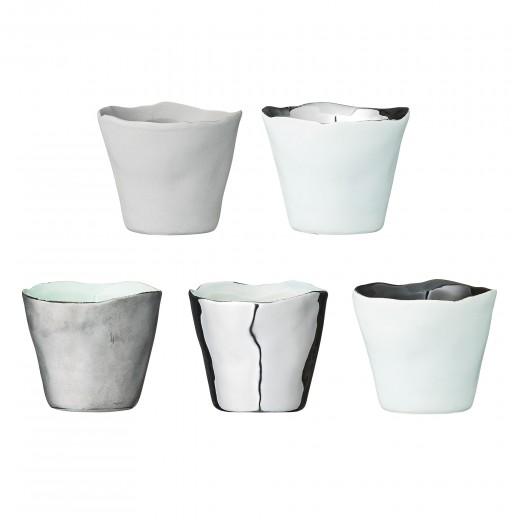 Set 5 Suporturi lumanare Gri/Argintiu/Verde/Negru, Ø8xH6,5 cm