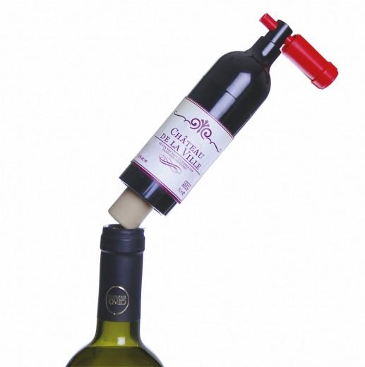 Desfacator sticle de vin, din plastic, Ø4xH17 cm, Enoteque Bottle Negru / Rosu