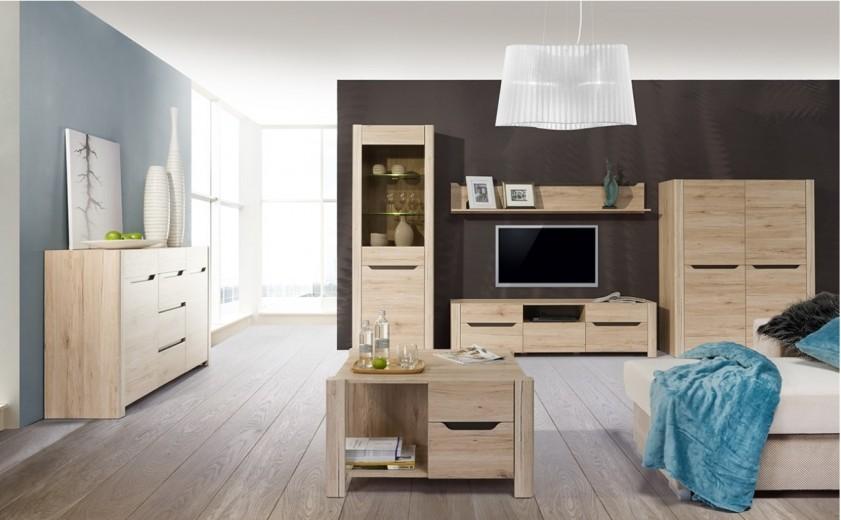Set de mobila living din pal, 6 piese Desjo Oak
