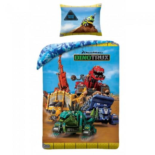 Lenjerie de pat copii Cotton Dinotrux DT-0401BL