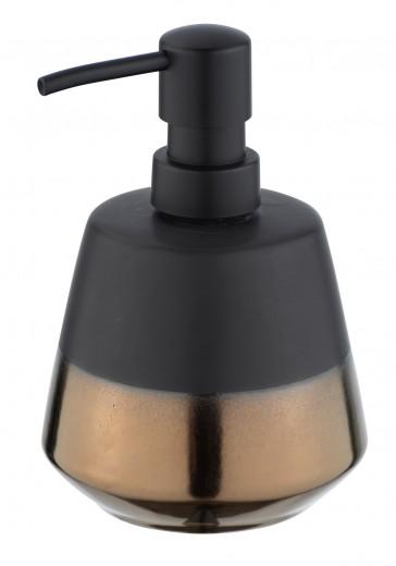 Dozator pentru sapun, din ceramica, Brandol Negru / Auriu, Ø9,8xH14,1 cm
