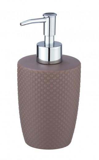 Dozator pentru sapun, din ceramica, Punto Taupe, Ø8,5xH17,5 cm