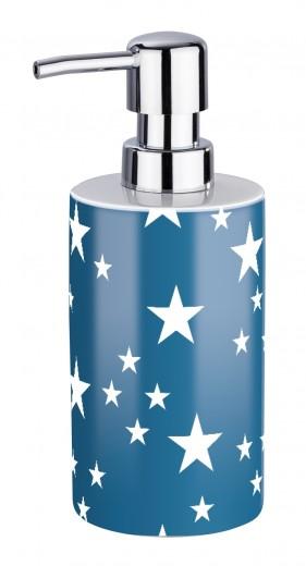 Dozator pentru sapun, din ceramica, Stella Albastru, Ø9xH18 cm