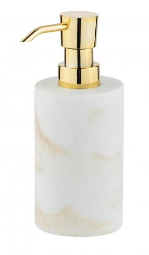 Dozator pentru sapun, din polirasina, Odos Alb / Auriu, Ø7xH18 cm
