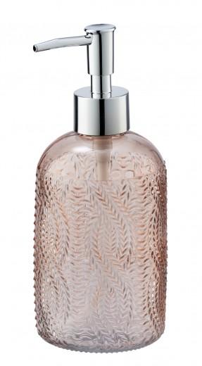 Dozator pentru sapun, din sticla, Vetro Rose, Ø7,5xH19 cm