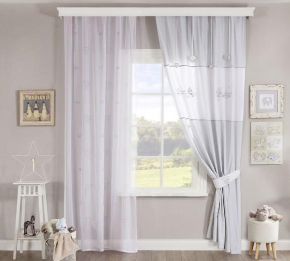 Set perdea si draperie pentru copii Baby Cotton White / Light Grey