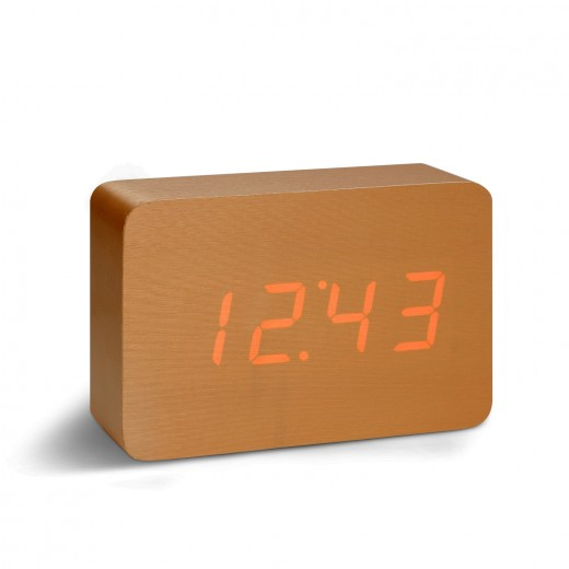 Ceas cu functie de intensitate redusa Brick Click Clock Copper/Red