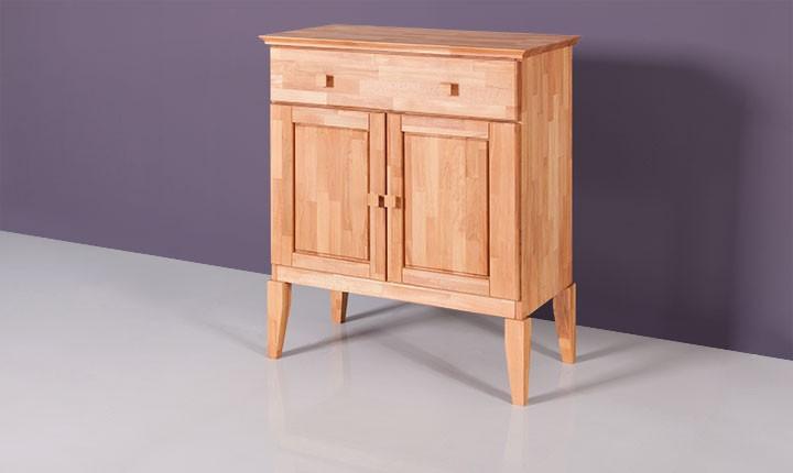 Dulap din lemn masiv de fag Odys 1S2D, l87xA46xH100 cm
