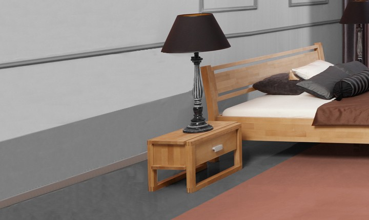 Noptiera din lemn masiv de fag Minimal clear, l54xA40xH32 cm