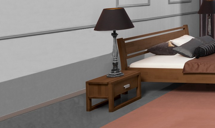 Noptiera din lemn masiv de fag Minimal nuc, l54xA40xH32 cm