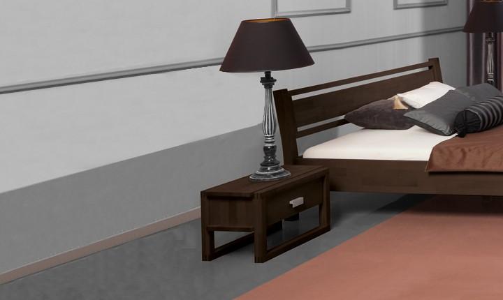 Noptiera din lemn masiv de fag Minimal wenge, l54xA40xH32 cm
