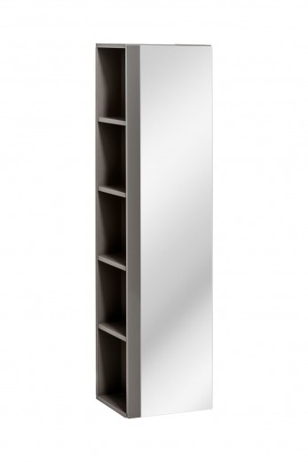 Dulap baie inalt cu 1 usa si oglinda Twist Grey, l35xA30xH140 cm