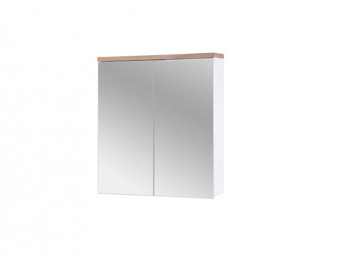 Dulap baie suspendat cu 2 usi si oglinda, Bali White, l60xA20xH70 cm