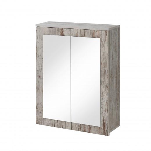 Dulap baie suspendat cu 2 usi si oglinda, Provensia, l60xA20xH70 cm
