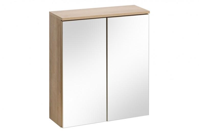 Dulap baie suspendat cu 2 usi si oglinda, Remik Riviera Oak, l60xA20xH68 cm