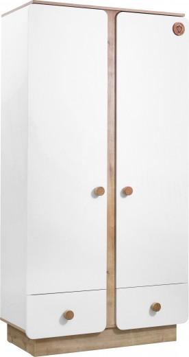 Dulap din pal cu 2 usi si 2 sertare, pentru bebe Natura Baby White / Nature, l103xA56xH195 cm