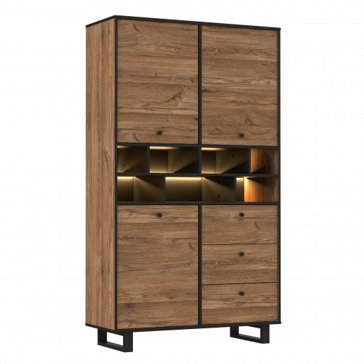Dulap cu biblioteca din metal si pal, cu 3 usi, 3 sertare si LED inclus Sedna Stejar / Negru,  l104,9xA42xH182,6 cm