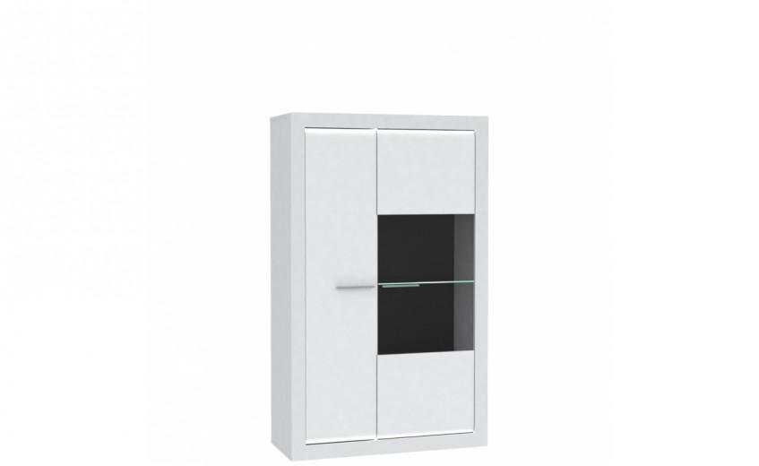 Dulap cu vitrina din pal, cu 2 usi Livinglight Alb, l98xA41,4xH162,2 cm