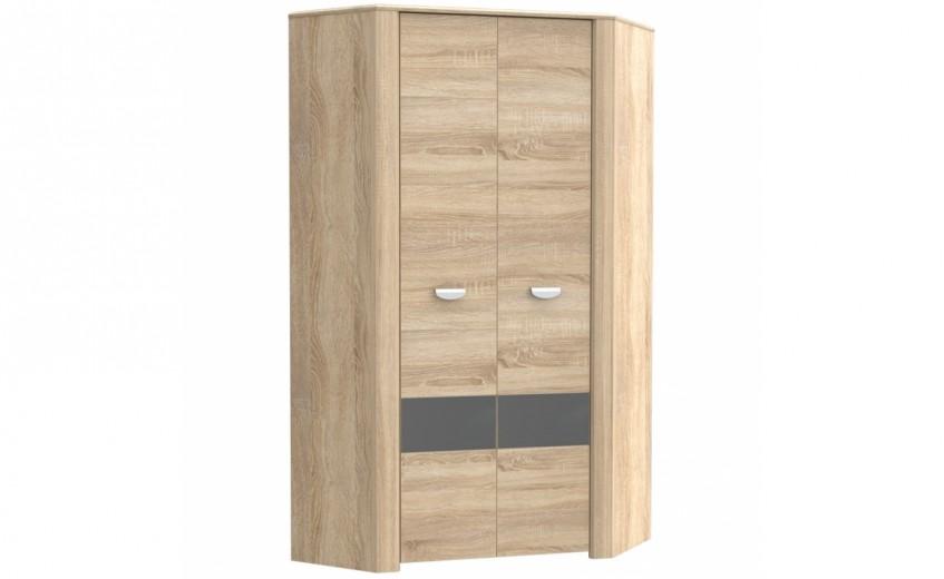 Dulap de colt din pal, cu 2 usi Yoper Stejar Sonoma / Gri, l97,4xA97,4xH194,4 cm